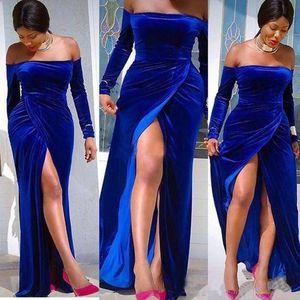 Elegant weg von der Schulter mit langen Ärmeln Abendkleider 2020 Royal Blue Velvet Side Split Mermaid Sweep Zug formale Gelegenheit Abendkleider