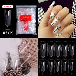 500pcs White Clear French Ballerina False Acrylic Nail Tips Full Half Cover Tips Coffin Fake Nails UV Gel Manicure Fake Nail Tip
