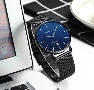 2020 regalo unisex Relojes para hombre CRRJU línea azul en malla relojes ultra delgado reloj de cuarzo casual para hombres Deporte Fecha Reloj Masculino Relógio