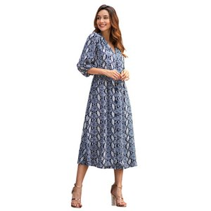 Europe and the United States cross-border Amazon explosion dress 2019 spring new temperament commuter seven-point sleeve women's dress