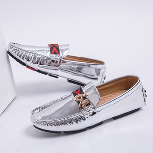 Casual Shoes Loafers Men Shoes Big Size 38-48 Driver Sneakers For Men Gold Silver Fashion Mens Casual Loafers