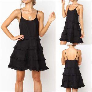 Designer U Neck Mulheres Vestidos Ladies Camisola Moda roupas femininas Verão Spaghetti Strap Vestido Ruffle
