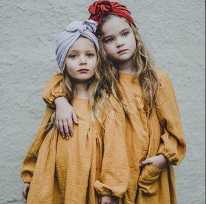 아이 소녀 디자이너 의류 드레스 봄 여름 긴 소매 빈티지 옐로우 공주님 디자인 드레스 코튼 대 프린세스 소녀 의류 드레스