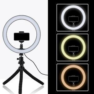 26cm LED Ring Light Fotografía Dimmable Photo Studio Lighting Video con mini trípode Soporte para teléfono para teléfono inteligente Maquillaje / Selfie / Blog