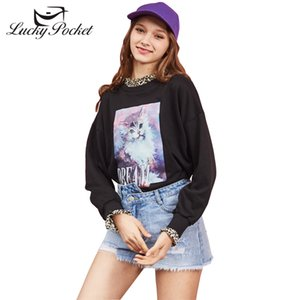 2019 Women Spring Autumn Black Sweatshirt Cat Print Casual Loose Top Brand Female Long Sleeve O-Neck Cotton Pullovers LY652