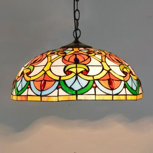 Dia40cm Peach Coração Bead Pendant Lamps Europeia Criativo Color Glass Pendant Light Bar Restaurante Sala de Jantar Avize Luster Lighting