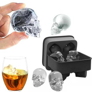 3D Skull Flexible Silicone Ice Cube Mold Tray Makes Four Giant Skulls Round Ice Cube Maker Black