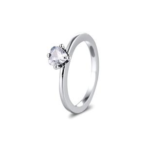 2020 Валентина день 100% 925 Sterling Silver Clear Сердце Solitaire Кольца для женщин обручальное кольцо серебро 925 оптовой продажи ювелирных изделий Fine Jewery