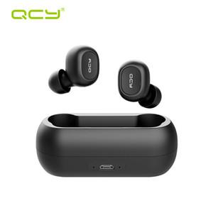 Stereo QCY QS1 T1C Mini dual V5.0 sem fio Fones de ouvido Bluetooth Fones de ouvido 3D Sound Earbuds com microfone duplo e caixa de carga