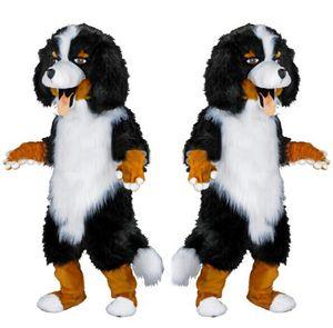 Nueva profesión Sheep Dog trajes de la mascota de dibujos animados de Halloween tamaño adulto blanco y negro perros de peluche perro de lujo vestido de fiesta envío gratis