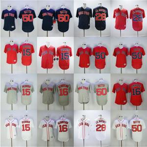 2018 Style de baseball 15 Dustin Pedroia Jersey 16 Andrew Benintendi 28 JD Martinez 50 Mookie Betts Cousu Flexbase Rafraîchissez base Discount pas cher