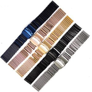 Luxury 20 22 24mm Rose Gold Yellow Gold Blue Shark Mesh Stainless Steel Watch Band Solid Link Wrist Watch Strap Straight End