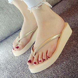 Brand New Hot Sale Trifle Flip Flops Women Wedges Platform Simple Casual Solid Summer Style Sandals Beach Shoes Woman