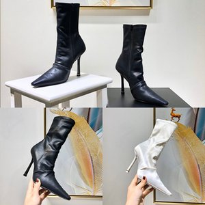 Designer Womens Boots Luxury Black White Pointed Folds High Heel Bare Shoes Top Quality With Box Size 35-40