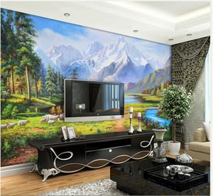 3d papel de parede Pastoral Oil Europeia Pastoral paisagem de fundo Pintura Mural House Lounge Sofá Wallpaper paisagem mural