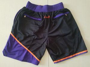 New Shorts Team Shorts Vintage Baseketball Shorts Zipper Pocket Running Clothes Sun Black Purple Color Just Done Size S-XXL