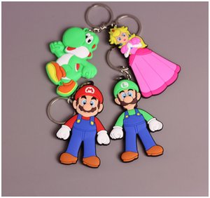 Super Mario Bros PVC action figures double side keychain Mario Princess Characters Model figurines soft PVC Key Chain Pendant M1458