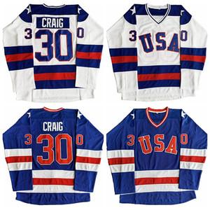 Jim Craig 30 Miracle On Ice Team USA Film Männer Hockey Jersey Blau Weiß genähtes S-3XL Freies Verschiffen