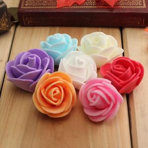 Wholesale- 100PCS Mini PE-Schaum-Rose Künstliche Blumen für Hochzeit Auto Dekoration DIY Pompom Kranz Dekorative Valentinstag Fake Flowers
