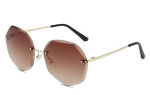 Poligonal corte-borde gafas de sol sin marco de metal damas 09copy Marina protección uv 9812 nueva sunglasse8