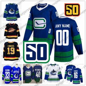 2019 50TH Sezon Vancouver Canucks # 8 Christopher Tanev 20 Brandon Sutter 43 Quinn Hughes 77 Nikolay Goldobin Mavi Üçüncü Beyaz Siyah Jersey