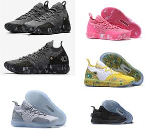 2019 nova alta qualidade kd 11 splatter sapatos de basquete do ouro kevin durant 11 s running sneakers multi-cor / ouro metálico mens sport shoes