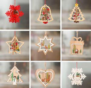 3D Christmas Holz Anhänger Ornaments Creative Wood Craft Weihnachtsbaum Ornament Weihnachtsfest-Dekorationen Kindergeschenke 9 Stil wählen