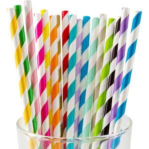 Tek Çizgili Kağıt Straws Çevre Dostu Çizgili Kraft Payet Bozunabilen Renkli Kağıt Suyu Payet DHL Ücretsiz Kargo