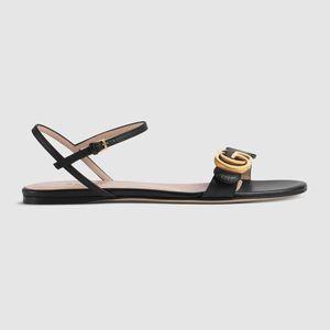 Caliente de la venta-524631 cuero genuino luxurys alta calidad calzado de los diseñadores de las señoras del envío de la sandalia de Libre 35-40