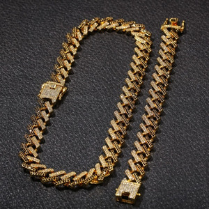 Mens 15MM Miami Cuban Chain Link Collier Bracelets Ensemble pour les femmes bling glacÉ diamant d'or d'argent épais chaînes lourdes Hip Hop Bijoux