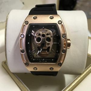 Top relógio crânio marca esportiva borracha luxuosa dos homens de relógios de luxo Mens Relógios homens relógios de grife montres pour hommes Orologi di lusso