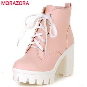 MORAZORA 2018 Nova Moda sexy mulheres tornozelo botas lace up de salto alto plataforma Punk Mulheres outono inverno botas de neve senhoras sapatos