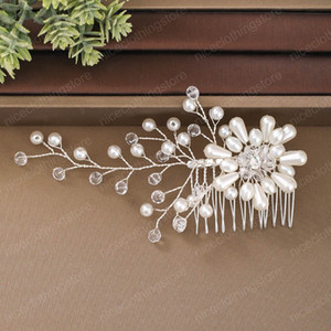 Silver Color Women Hairpin Imitation Pearls Hair Comb Handmade Rhinestone Headpeice Wedding Hair Accessories Hair Ornament