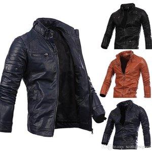 Mens Autumm Designer PU Giacche Stand Collar manica lunga Solid Pocket Zipper Homme Abbigliamento casual Abbigliamento