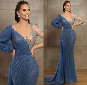 Azul Evening vestidos Sheer Jewel Neck frisada Lace manga comprida Mermaid Prom Dress Sweep Trem Custom Made Illusion Robes De Soirée