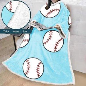 14styles футбольный мяч одеяло футбол печатных детей взрослых зима хлопок плюшевые Шаль диван ленивый бросить одеяло с рукавами 127*178 см FFA3147