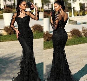 Sexy Black Lace Long Sleeves Mermaid Evening Dresses with Beads Appliques Sweep Train Formal Prom Party Gowns