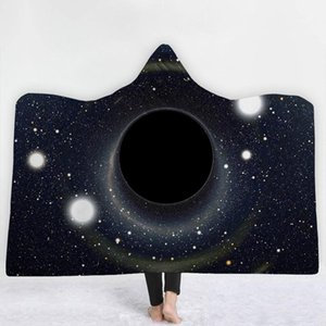 WHQ chaud Univers capuche Couverture d'hiver Throw Black Hole Imprimé doux court Fluff Wearable Blanket chaud Joyous Cobija Cobertor