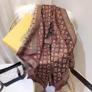 Großhandel-Marke Silk Lamé Schal für Frauen Designer Floral Flower Lange Schals Wrap Größe 180x70cm Seidenschals für Frauen