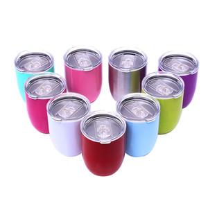 10oz Eggshell Cup Solid Egg Shape Cups tumble Rainbow Stainless Steel Mug Red Wine Cocktail coffee mugs with lids LJJA3025