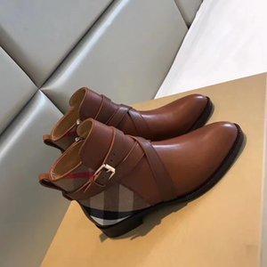 burberry stivali strisce di lusso stampato di alta qualità spessa suola breve Donna stivali suola spessa Martin Genuine Leather Lace Up Boots brevi