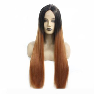 Cheap Price Best Quality Dark Roots Ombre Light Brown Color Fiber Hair Long Straight Lace Front Wig Synthetic Wigs for Women