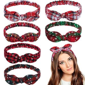 Orecchie delle ragazze delle donne fascia di Natale Plaid Snowflower Bow Elastic Hairband Bunny Heaband Natale Accessori per capelli HHA996