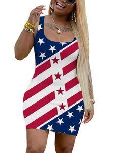 dress Ms United States independence Day National Day National flag printing Short skirt fashion sleeveless Sexy All-match dress new style wh