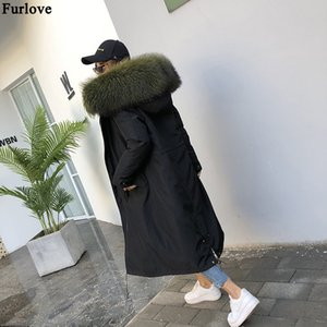 Furlove 2019 X-Long Parka Winter Jacket Women Real Fur Coat Black Fashion Casual Parkas Thick Warm Fur Outerwear Streetwear New T191122