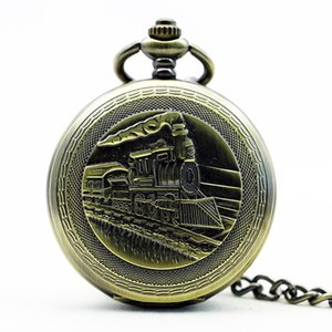 Locomotive Steampunk Steam Carving Train Cover Fob Chain Pendant Mechanical Pocket Watch for Men Women PJX1165