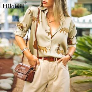 HiloRill Mulheres Blusas manga comprida Turn-Down Collar Tops Casual cópia do leopardo de escritório do estilo Camisa das senhoras solto Blusas Blusas