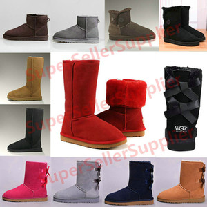 UGG Boots para mujer Short Mini Australia Classic Rodilla Tall Botas de nieve de invierno Diseñador Bailey Bow Tobillo Bowtie Negro Gris castaño rojo 36-41
