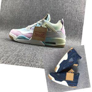 2019 yeni moda yeni erkek basketbol ayakkabı 4 Denim Beyaz Mavi Gökkuşağı oyunu kırmızı 4 s Kot erkek spor tasarımcı Sneakers