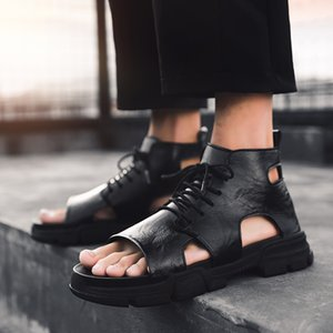 Fashion Man Beach Leather Sandals 2019 Summer Outdoor High-top Shoes Roman Men Casual Shoes Krasovki Tenis Slippers Hot Sale Y200702